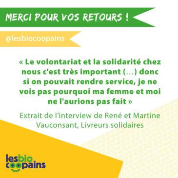 Interview de René et Martine Vauconsant, livreurs solidaires