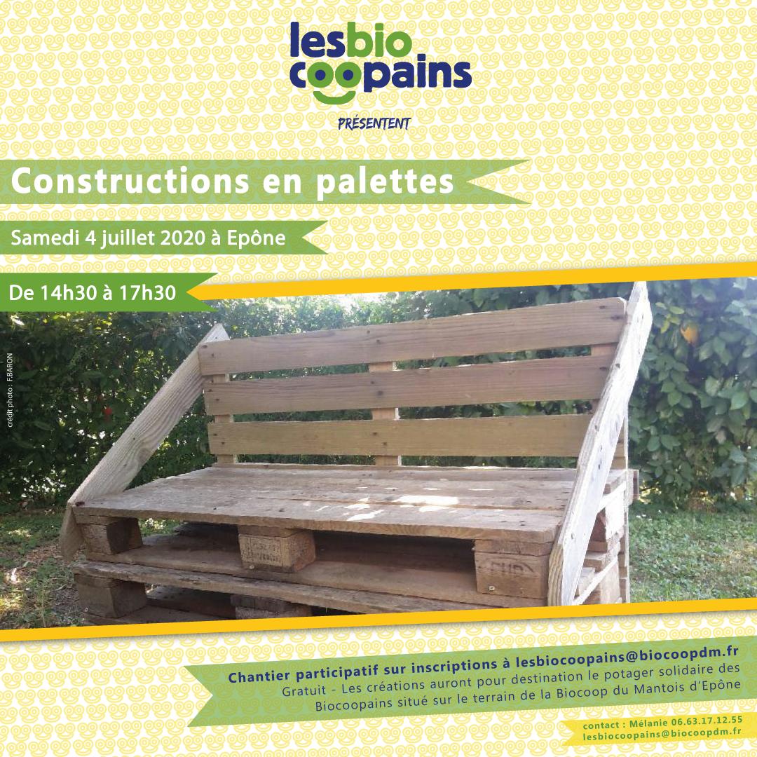 Rdv pour notre chantier participatif «Constructions en palettes» le samedi 4 juillet 2020