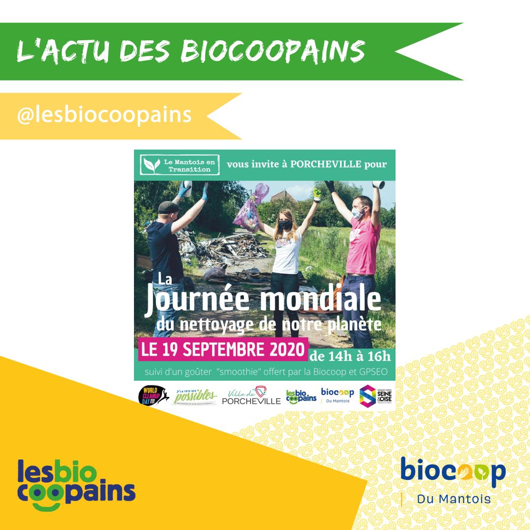 Les Biocoopains participent à la Journée mondiale du nettoyage de notre planète avec Le Mantois en Transition le Samedi 19 septembre 2020 à Porcheville !