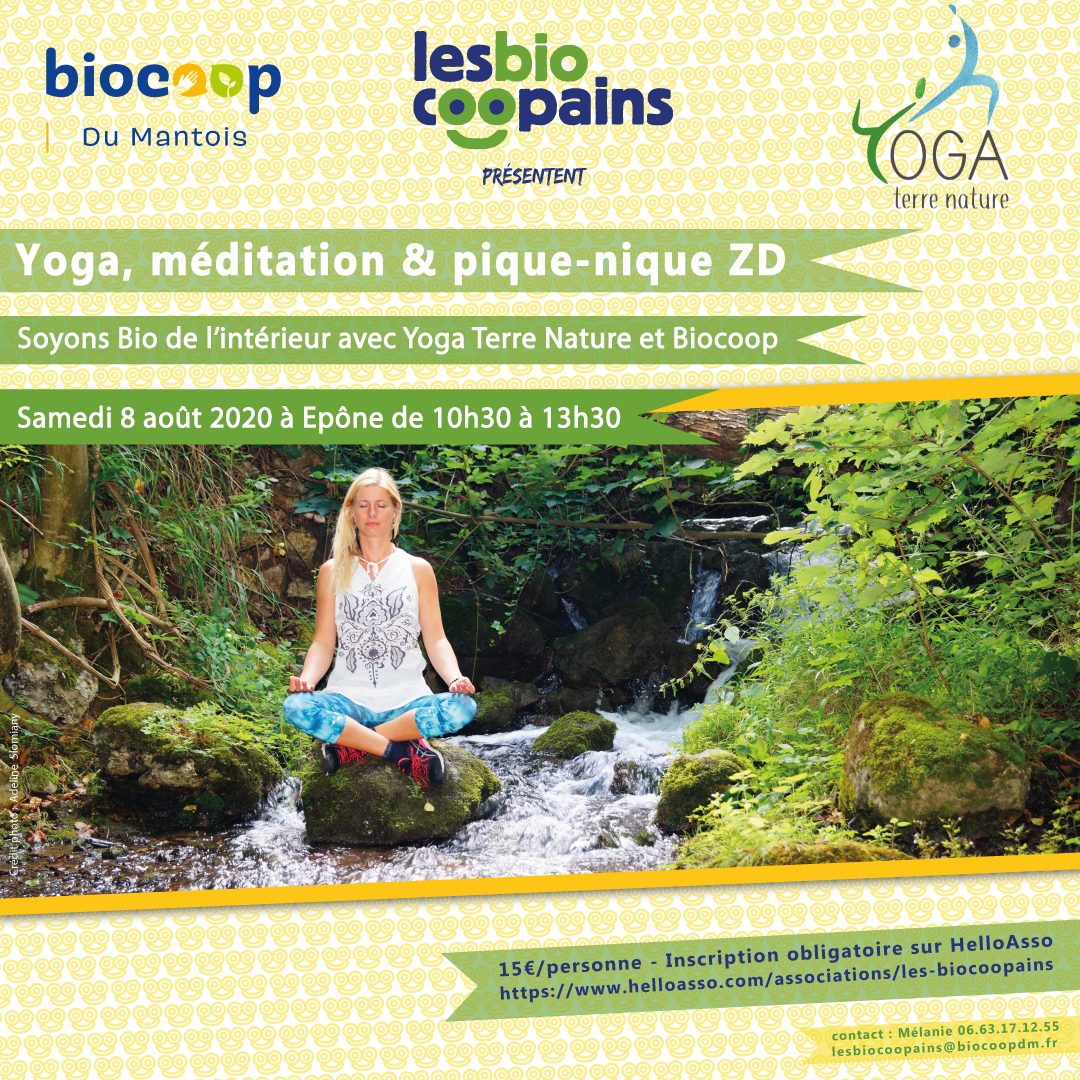 Atelier «Yoga, méditation & pique-nique zéro déchet» samedi 8 août 2020 à Epône