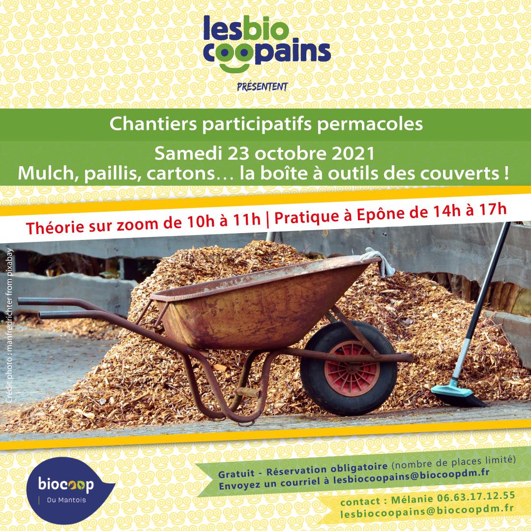 Chantier participatif permacole n°13 sur le mulch, le paillis, les cartons… la boite à outils des couverts, le samedi 23 octobre 2021